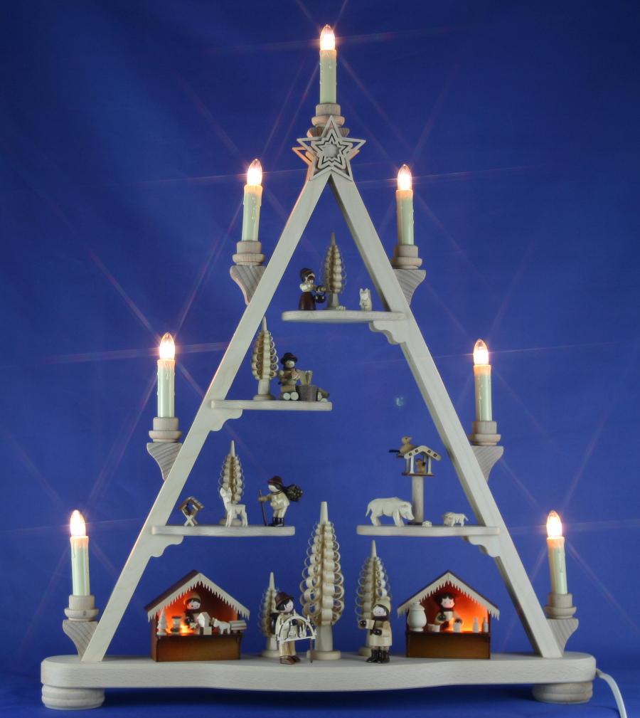 Dreieck Weihnachtsmarkt Winterkinder geschnitzt Erzgebirge Schwibbogen-Spitze
