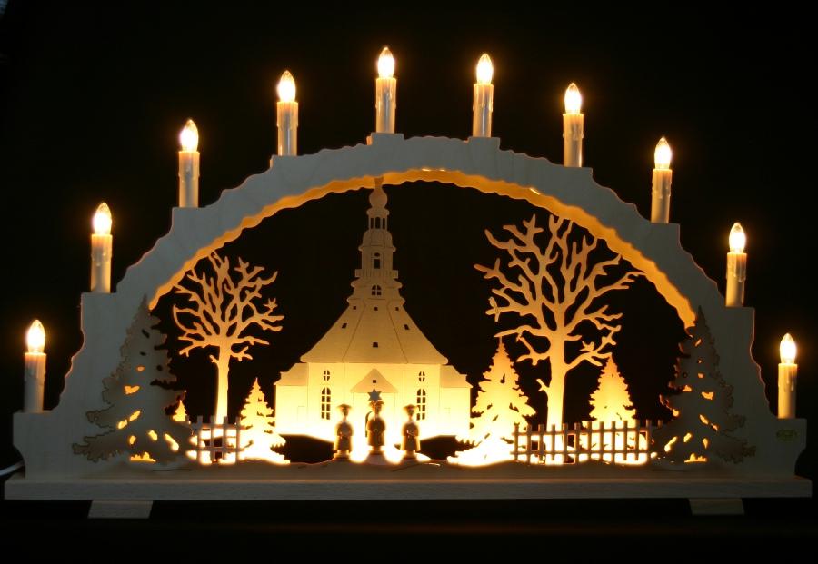 schwibbogen seiffener kirche mit kurrende 70cm mit led vorbeleuchtung erzgebirge ebay. Black Bedroom Furniture Sets. Home Design Ideas