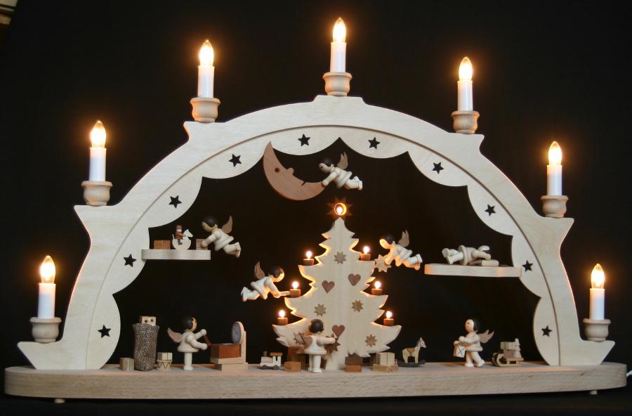 3d led schwibbogen 8 engel unterm weihnachtsbaum 65x40cm. Black Bedroom Furniture Sets. Home Design Ideas
