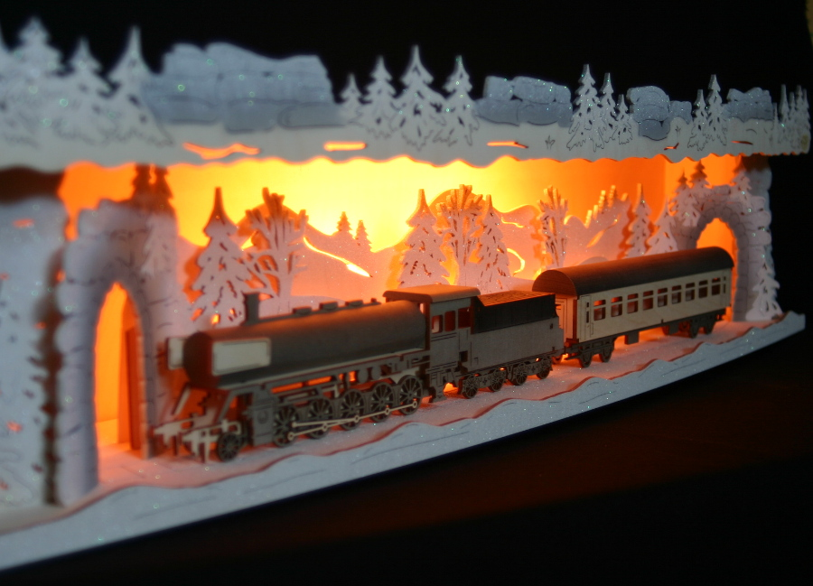 christmas window decorations Variabler 3D-Schwibbogen 72cm Eisenbahn Lok Dampflok Zug Erzgebirge indirekt Celebration & Occasion Supplies