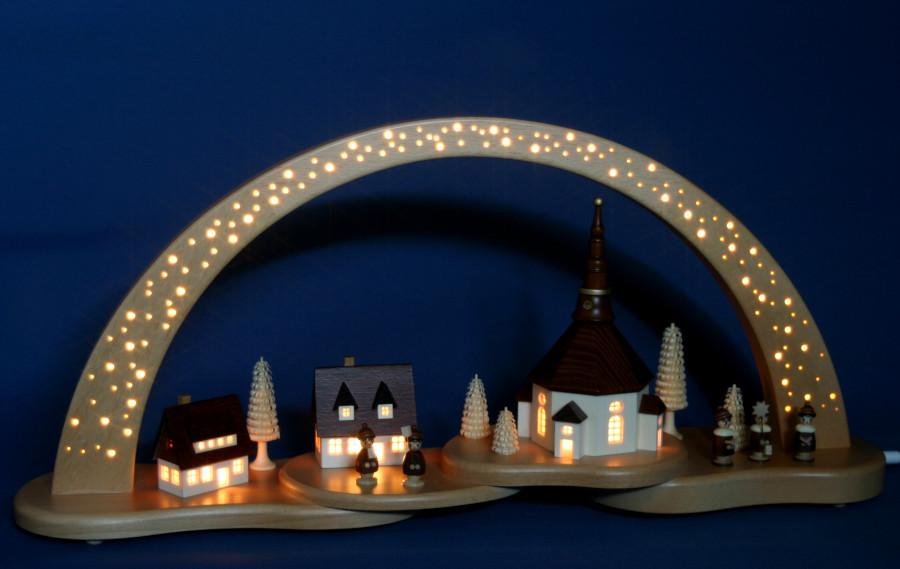 Schwibbogen Lichterbogen Seiffener Kirche Seiffen beleuchtete Kirche  NEU