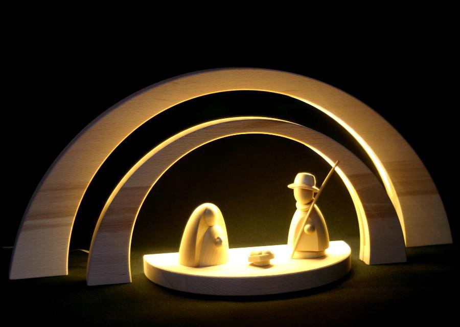 LED Double Schwibbogen 51cm /& 34cm Modern Christ Birth Empty Arc Erzgebirge